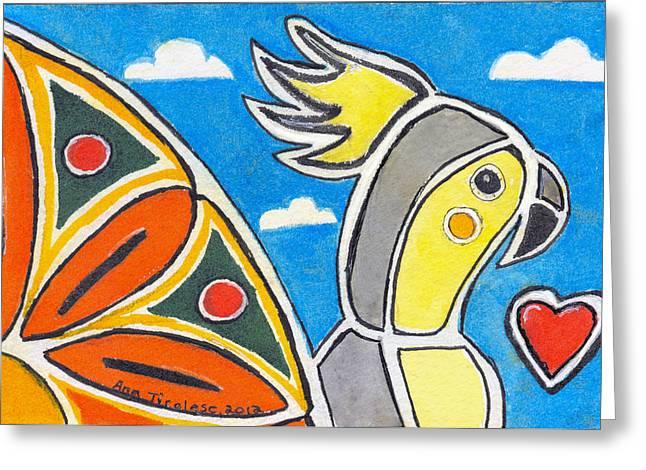 Our Heart Bird Oscar Greeting Card by Ana Tirolese