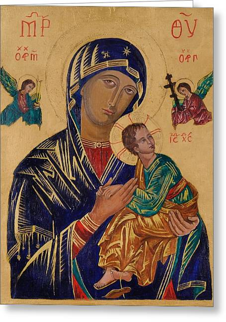 Our Mother Of Perpetual Help Greeting Card by Camelia Apostol