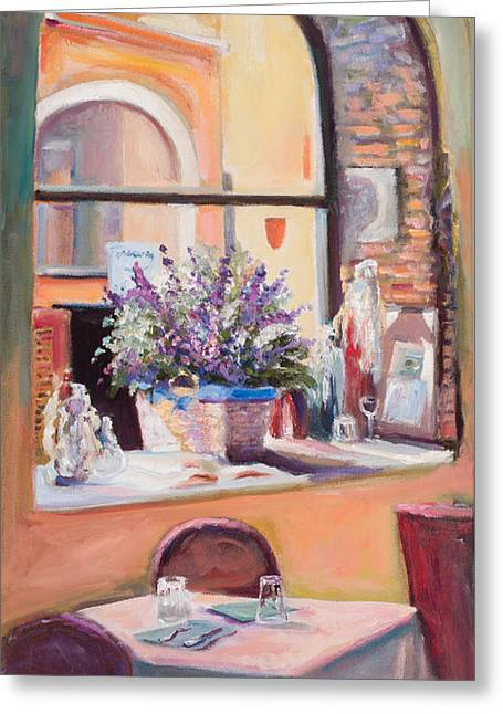 Our Table By The Window Greeting Card by Jane Woodward