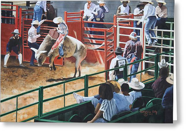 Out Of The Chute Greeting Card by Katherine Uitz