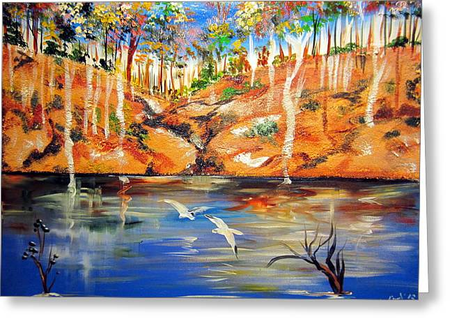 Greeting Card featuring the painting Outback Billabong My Way by Roberto Gagliardi