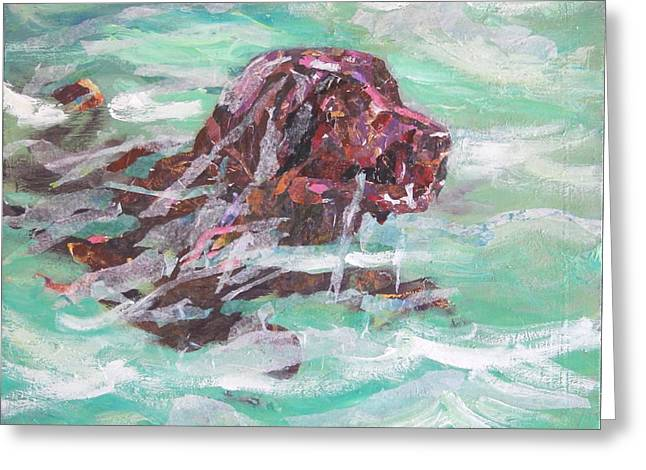 Outdoor Art Chocolate Lab Greeting Card by Sheila Wedegis