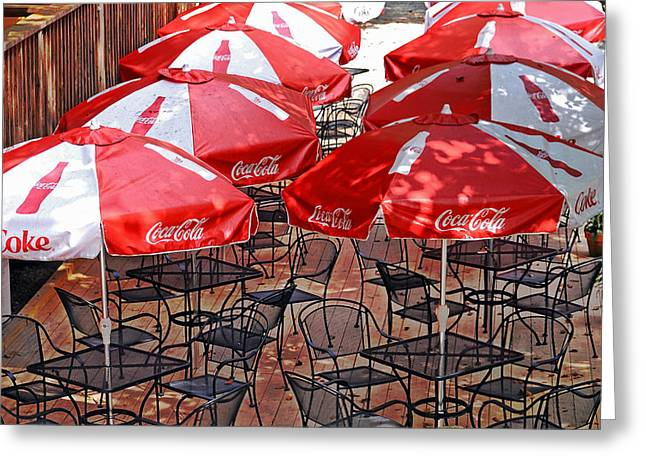 Outdoor Dining Greeting Card by Susan Leggett