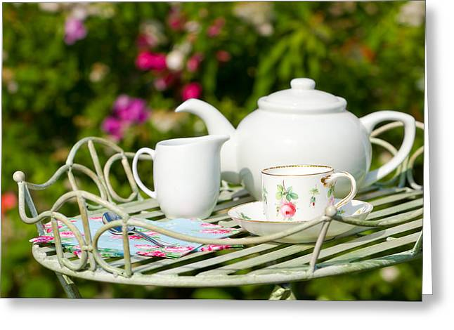 Outdoor Tea Party Greeting Card by Amanda Elwell