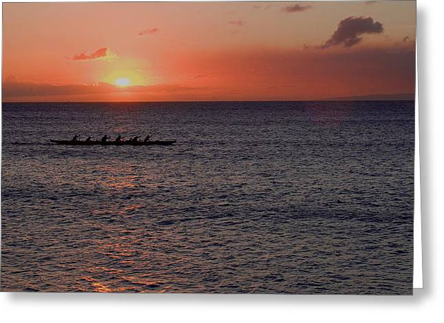 Outrigger Sunset Greeting Card by Tony and Kristi Middleton