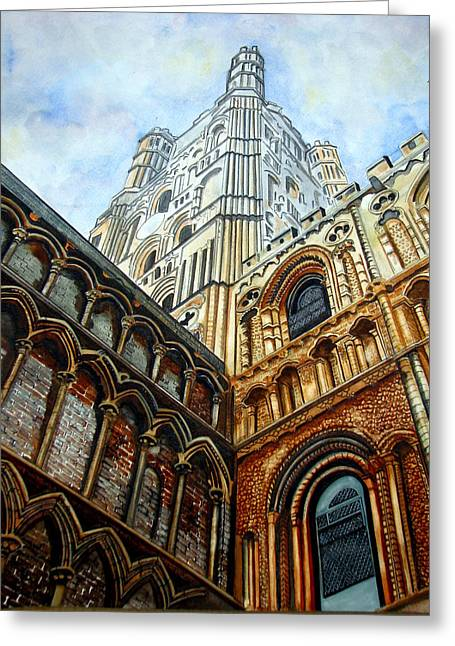Outside Ely Cathedral Greeting Card by Emmanuel Turner