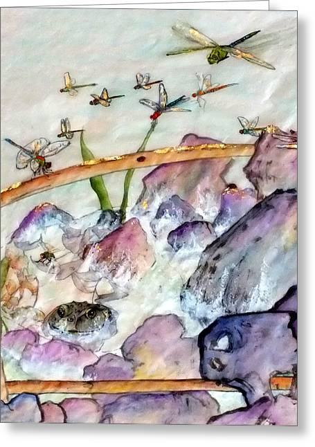 Over And In The Pond Greeting Card by Debbi Saccomanno Chan