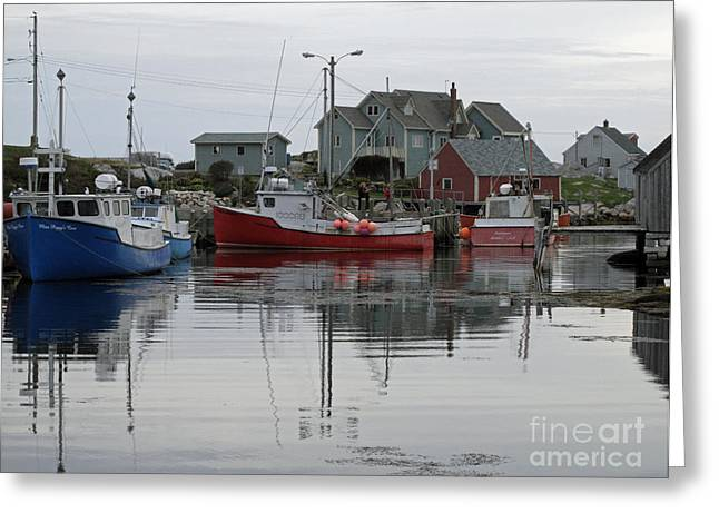 Overcast At Peggy's Cove  Greeting Card by Louise Peardon
