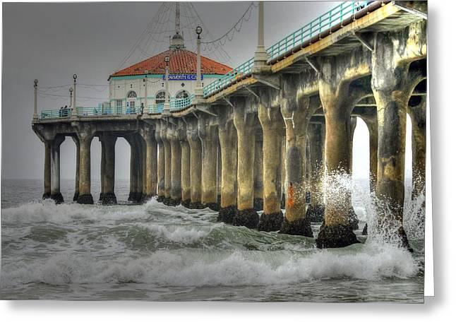 Overcast Manhattan Beach Pier Greeting Card