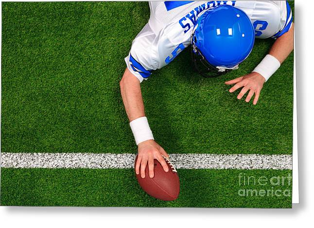 Overhead American Football Player One Handed Touchdown Greeting Card