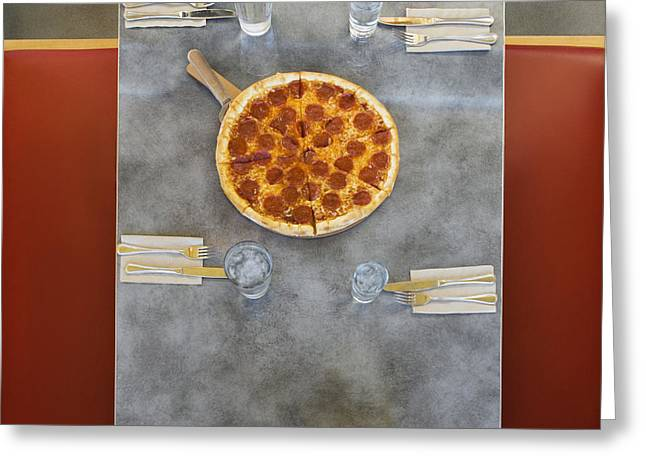 Overhead Of Table With Pizza Greeting Card