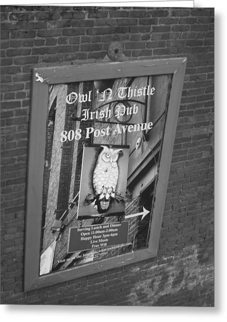 Owl And Thistle Irish Pub Greeting Card by Kym Backland