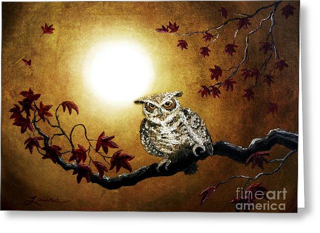 Owl In Maple Leaves Greeting Card by Laura Iverson