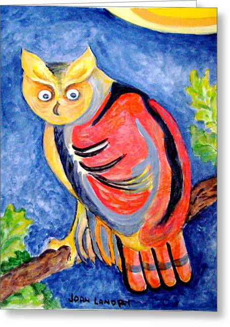 Owl With Attitude Greeting Card by Joan Landry