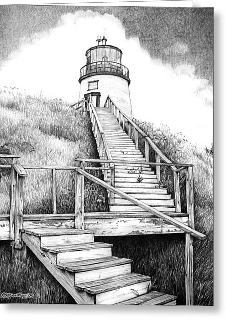 Owl's Head Lighthouse Greeting Card by Bob Manthey