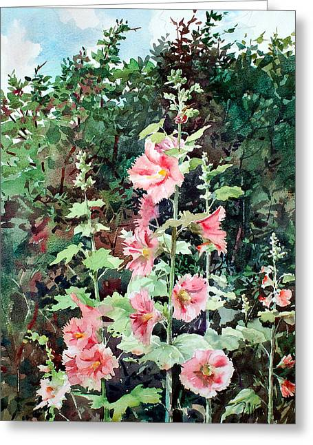 Oxenden Hollyhock Greeting Card by Peter Sit
