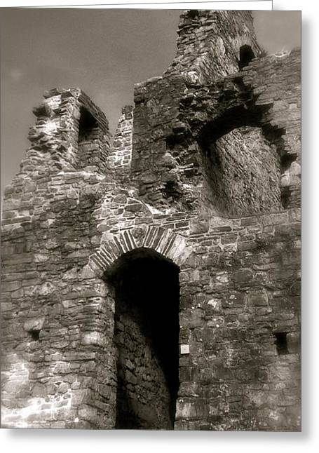 Oystermouth Castle Ruins Detail Greeting Card by John Colley