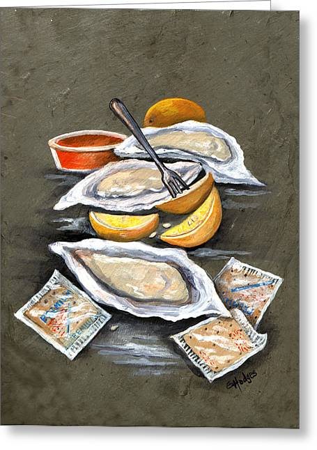 Oysters And Crackers Greeting Card by Elaine Hodges
