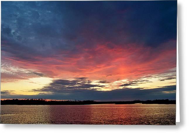 Ozello Sunset Greeting Card by Judy Wanamaker