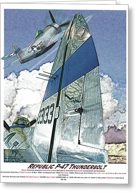P-47 Thunderbolt Greeting Card by Kenneth De Tore