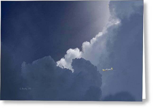 P-51 Into The Night Greeting Card by George Skip Bradley