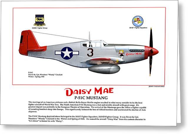 P-51c Daisy Mae Profile Greeting Card by Jerry Taliaferro