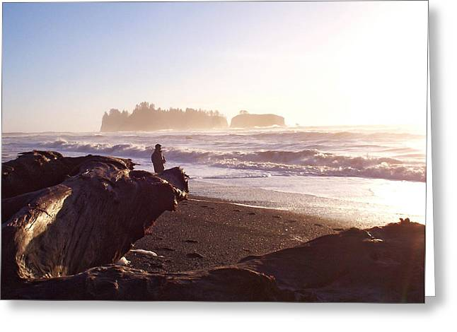 Pacific Ocean Sunsest Walk Greeting Card by Christine Burdine