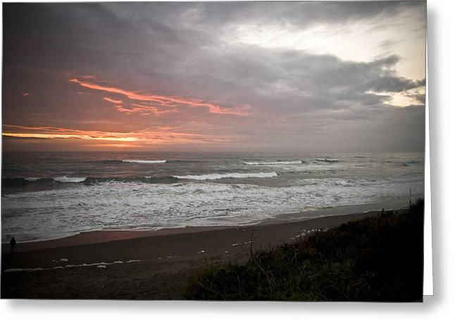 Pacific Ocean Sunset Greeting Card by Richard Adams