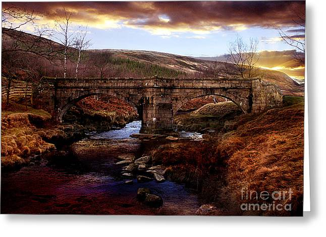 Packhorse Bridge Greeting Card by Nigel Hatton