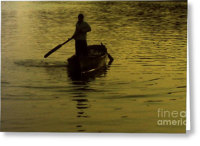 Greeting Card featuring the photograph Paddle Boy by Lydia Holly