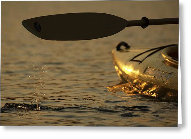 Paddling A Kayak Over Walden Pond Greeting Card by Tim Laman