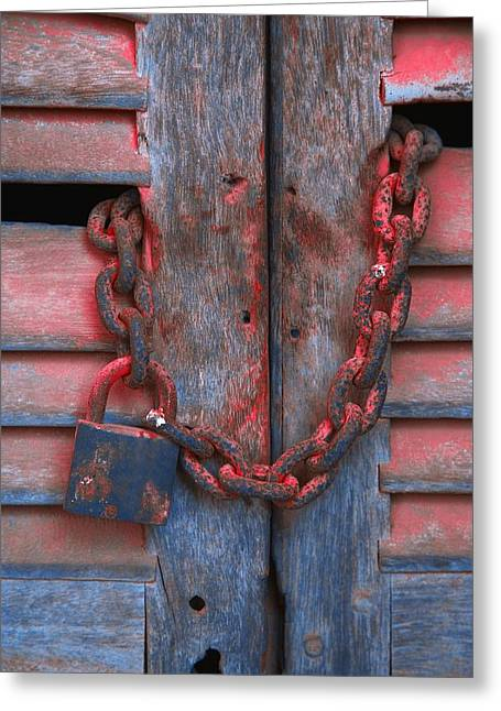 Padlock And Chain On Wooden Door Greeting Card by Carson Ganci