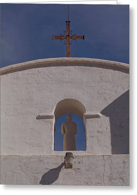Greeting Card featuring the photograph Padre In Tower by Tom Singleton