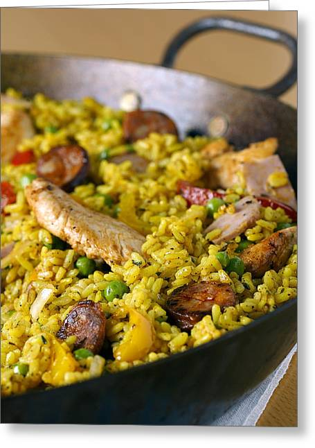 Paella Greeting Card by Veronique Leplat