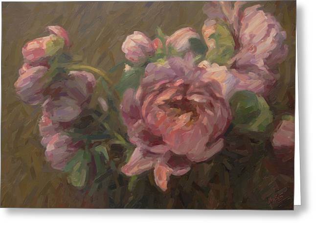 Paeonia Roses Greeting Card by Nop Briex