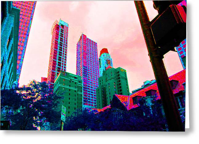Paint The Town Red Greeting Card by Val Oconnor