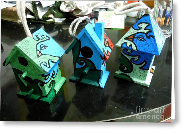 Painted Birdhouses Greeting Card by Genevieve Esson
