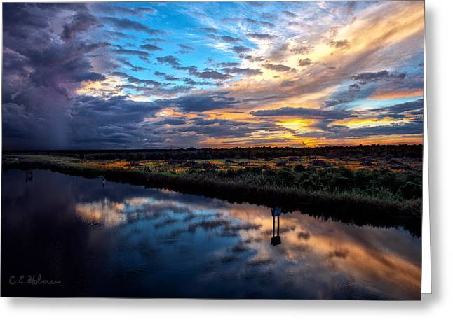 Painted Clouds Reflected Greeting Card by Christopher Holmes