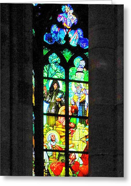 Painted Glass - Alfons Mucha  - St. Vitus Cathedral Prague Greeting Card by Christine Till