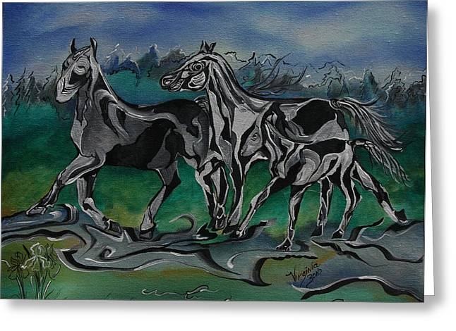 Painted Horses Greeting Card