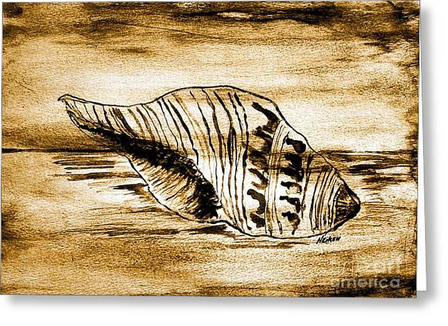 Painted Seashell Greeting Card by Marsha Heiken