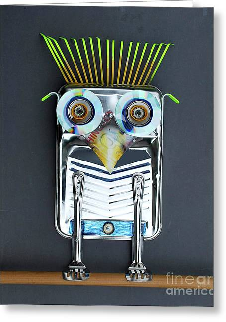 Painter Owl Greeting Card by Bill Thomson
