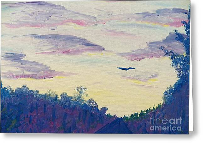 Painting  Driving At Dawn Greeting Card by Judy Via-Wolff