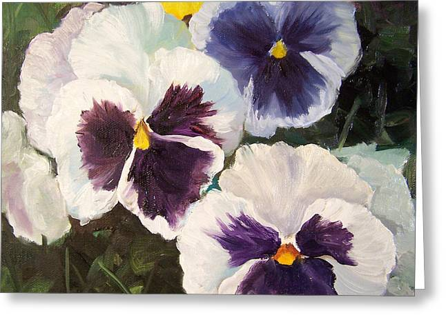 Painting Of Pansies Greeting Card by Cheri Wollenberg