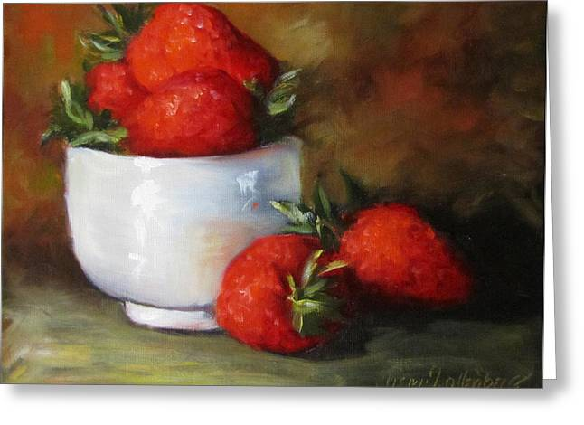 Painting Of Red Strawberries In Rice Bowl Greeting Card by Cheri Wollenberg