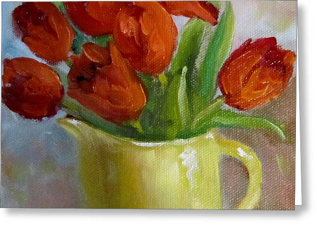 Painting Of Red Tulips Greeting Card by Cheri Wollenberg