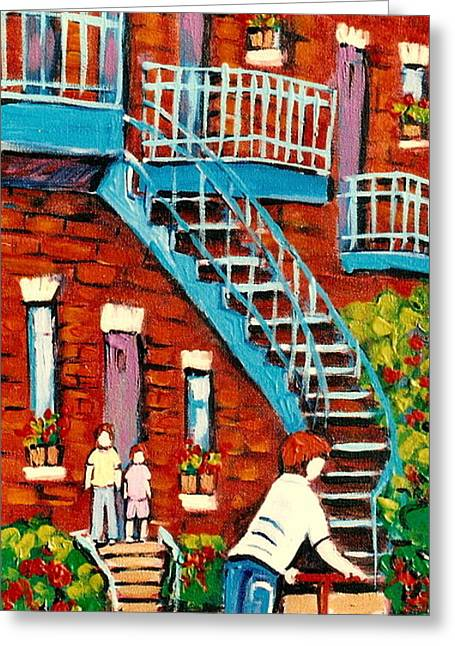 Paintings Of Heritage Montreal Summer Staircases City Scenes Greeting Card