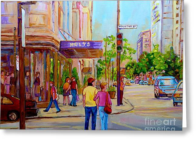 Paintings Of Montreal Streets Holt Renfrew Sherbrooke Street Greeting Card by Carole Spandau