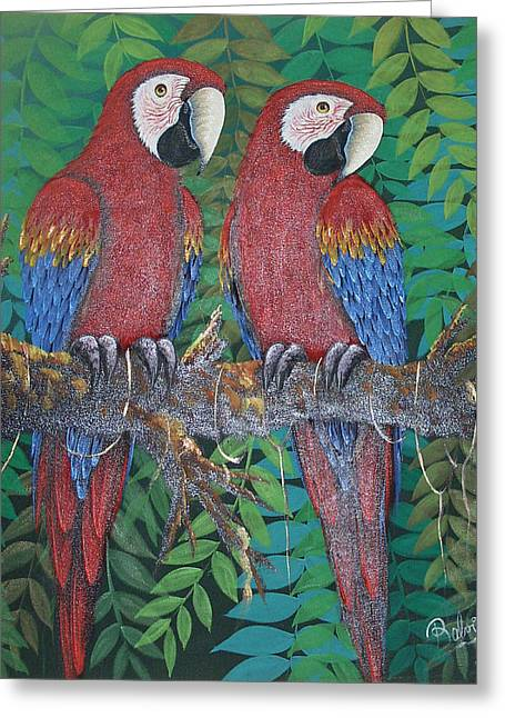 Pajaritos Rojos Greeting Card