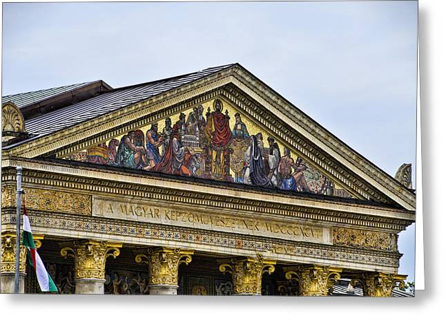 Palace Of Art - Heros Square - Budapest Greeting Card by Jon Berghoff